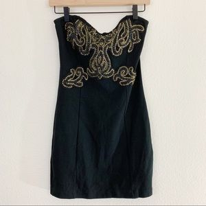 Free people Black Beaded Mini Dress Size M